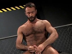 Dog Fight - Knight jerking off cock and toying his hairy ass