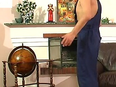 Gay plumber uses his meaty pipe to fill a straight guy\\\'s mouth and firm ass