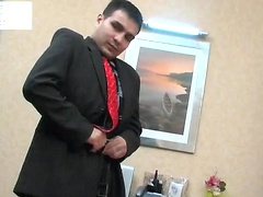 Kinky co-worker and his gay boss having cock-break after hard working day