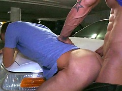 Gay ass fucked on a parking