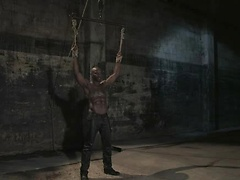 Hot black muscle man punished and fucked in kink's dungeon