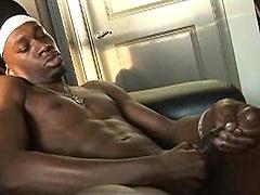 D-unit jerking off his big ebony cock