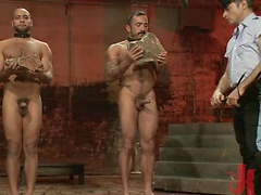 Two hunks prisoned and fucked