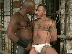 Muscle hunk punished by his black master