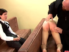 Twink ass spanked by older man