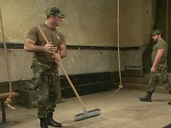 Muscled soldier tied and fucked