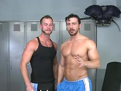 Reese Rideout and Chris Bines in a gym
