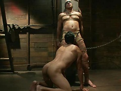 Man slaved in a dungeon, he tied and fucked