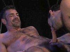 Muscle men Bruno Bond and Steve Cruz