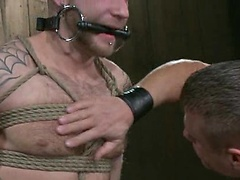 House dom Tyler Saint plays with his sub for the day Drake Jaden, when another house dom Nick Moretti walks in and insists that it\\\'s his turn.