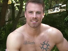 Rich Ryan shows off his tall muscular body, covered in neatly trimmed dark body hair, while jerking his nice big cock.