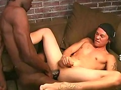 Kai fucked by two ebony studs