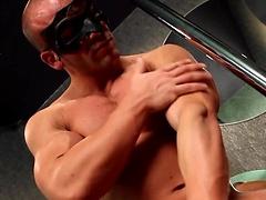 Muscle man Jason stripping