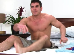 Brunette stud jerking off his love tool
