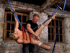 Toned, blond beauty Luke Desmond Strung Up and Fucked