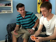 Two hot college buddies AJ Banks and Tristan Sterling fuck