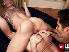 Dylan James and Michael Lucas spit-roast Jake Morgan