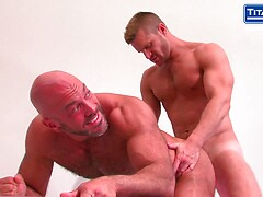 Hairy Chested Bald Daddy Gets Plowed Deep