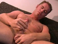 Hairy hunk jacking off dick
