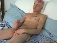 Hot blond twink Timo jacking off dick