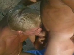 Three blonde studs meet by the pool and get outdoors sex