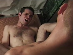 Dark haired gay gets his tight ass fucked