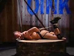 Gay gets tied up and after he takes a black dildo