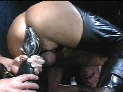 Big black dildo drills gay ass