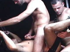 Hot threesome in a dungeon where every ass gets fucked bareback!