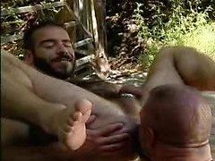 Hairy ass rimming in the woods