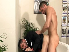 Maculed hunks fucking in the office