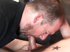 Bearded man sucks a cock