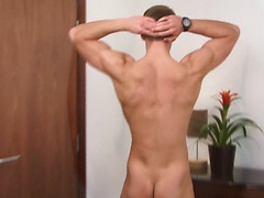 Sexy stud gets naked