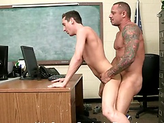 Kyle Savage barebacks Tyson James skinny ass