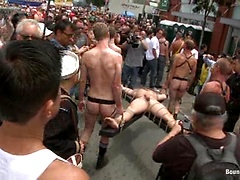 Cock hungry whore cattle prodded and fucked at Dore Alley Street Fair