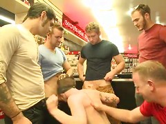 Bound stud whorred out at a local sex shop