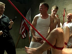 Hairy perv gets taken downtown & gang fucked by the whole jail house