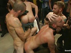 Southern stud gets fucked and showered with cum in front of 100 men!