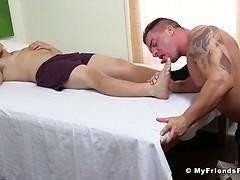 Adam Gives Braden A Footjob In His Sleep - Braden