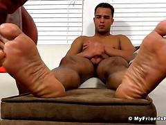 Dark Skinned Hunk Javi Gets His Feet Worshiped - Javi