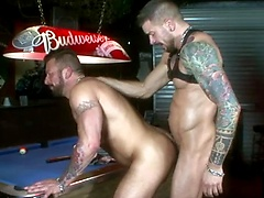 Hugh Hunter and Dolf Dietrich may suck at pool but they definitely have other more enticing skills. Hugh is all bottom here as Dolf pounds his hot, juicy hole.