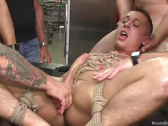 Edged, tormented and gang fucked in a dirty laundromat