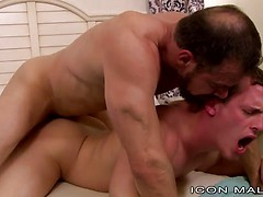 Muscled daddy nails studs' ass
