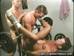 Hot Jocks Enjoy Threesome Gay Anal