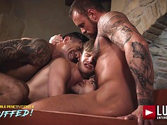 Adam Killian, Marq Daniels, Brian Bonds, Michael Roman. Raw Double-penetration